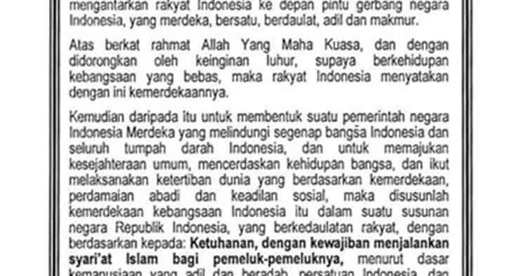 Perbedaan Piagam Jakarta dengan Pancasila - Serkelan