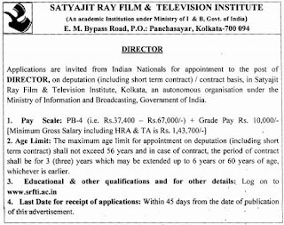 Satyajit Ray Film & Television Institute (SRFTI) Recruitments (www.tngovernmentjobs.co.in)