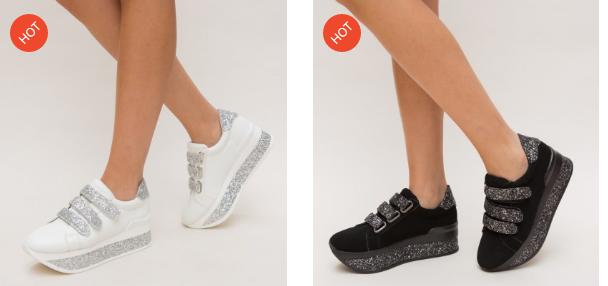 Adidasi moderni negri, albi cu talpa groasa din piele eco intoarsa si scai