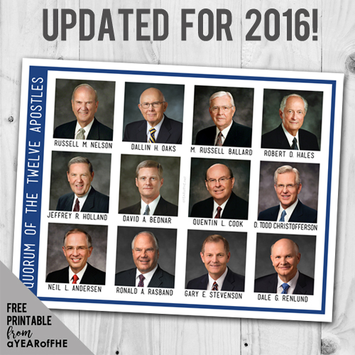 A Year of FHE // Printable poster of the current 12 Apostles of the LDS church. Updated as of 2016! #lds #familyhomeevening #apostles