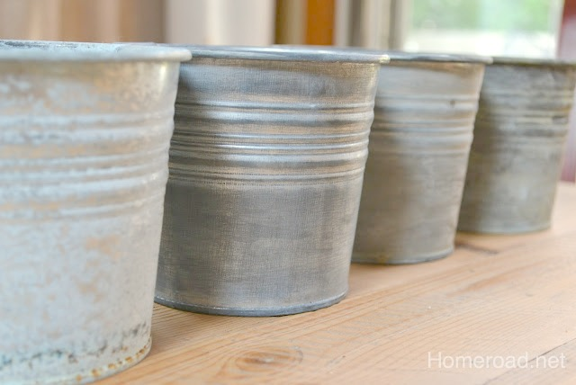 Several ways to add age to shiny metal pails