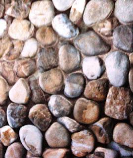 Keramik motif batu bulat sedang