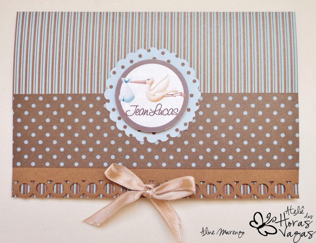 convite artesanal poá marrom azul listras bebê padrinhos aniversário 1 aninho batizado menino baby cegonha