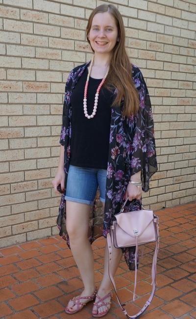Target Karolina summer kimono in purple black floral with black tee bermuda denim shorts pink accessories | awayfromblue
