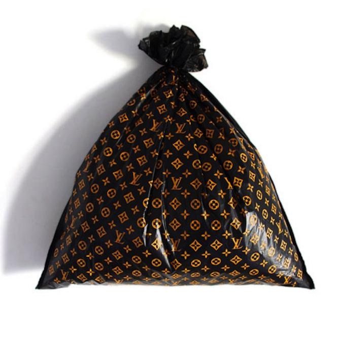 Gold sequins black leather logo fatigue - Louis vuitton trash bag ...