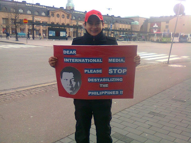 PDuterte supporters in Finland march against biased international media