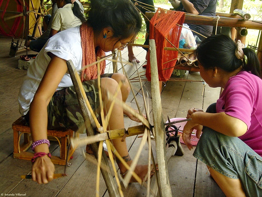 Spinning yarn in Laos