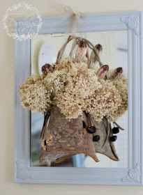 Bark basket and hydrangea on chalk painted antique mirror