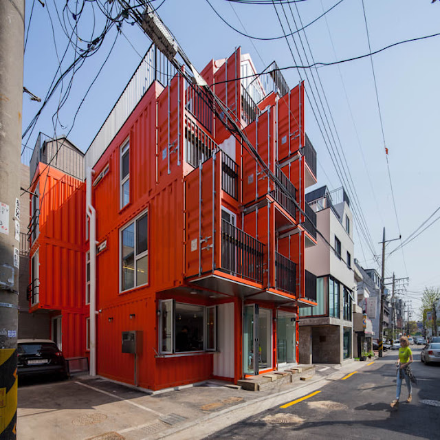 Shipping Container 4 Story House - Office, Cafe and Hotel in Seoul, South Korea 9