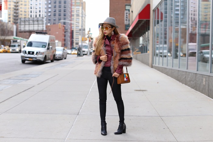 topshop stripe feather coat, chicwish burgundy moto jacket, blank denim skinny jeans, rebecca minkoff mini sofia bag, lack of color hat, rayban reflective sunglasses, kendrascott earrings, pointy toe ankle booties