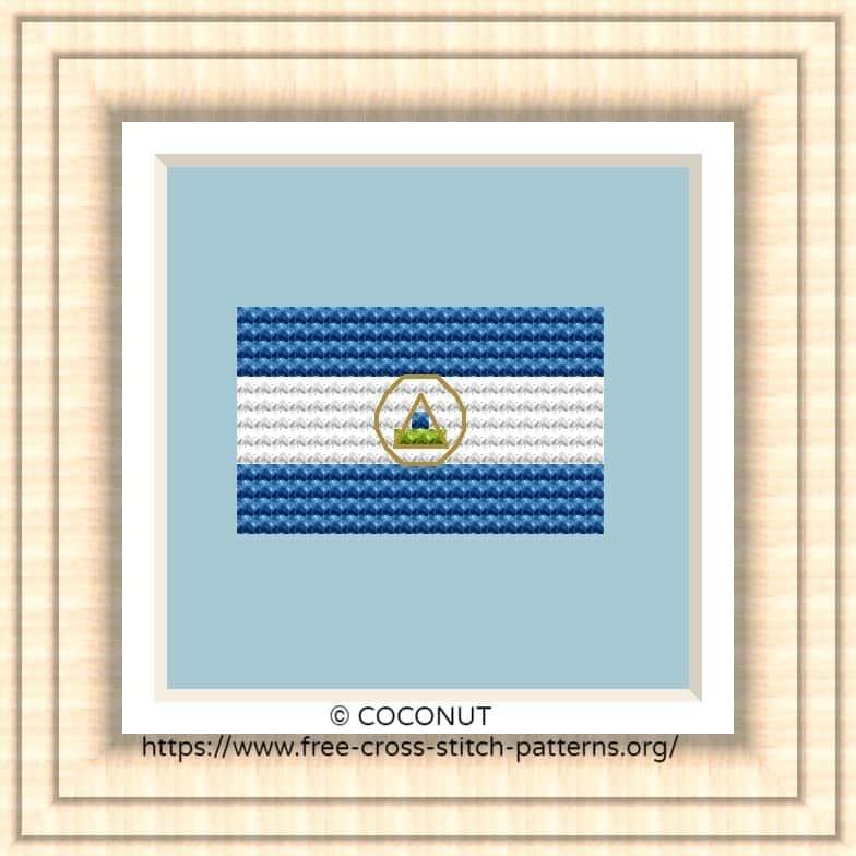 NATIONAL FLAG OF NICARAGUA CROSS STITCH CHART