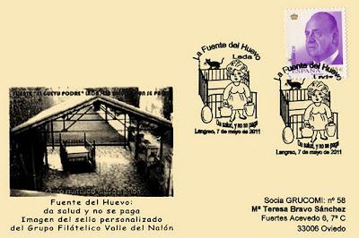 Tarjeta del matasellos con motivo del 125 aniversario del descubrimiento del agua medicinal que surge en la Fuente del Huevo, en Lada (Langreo)