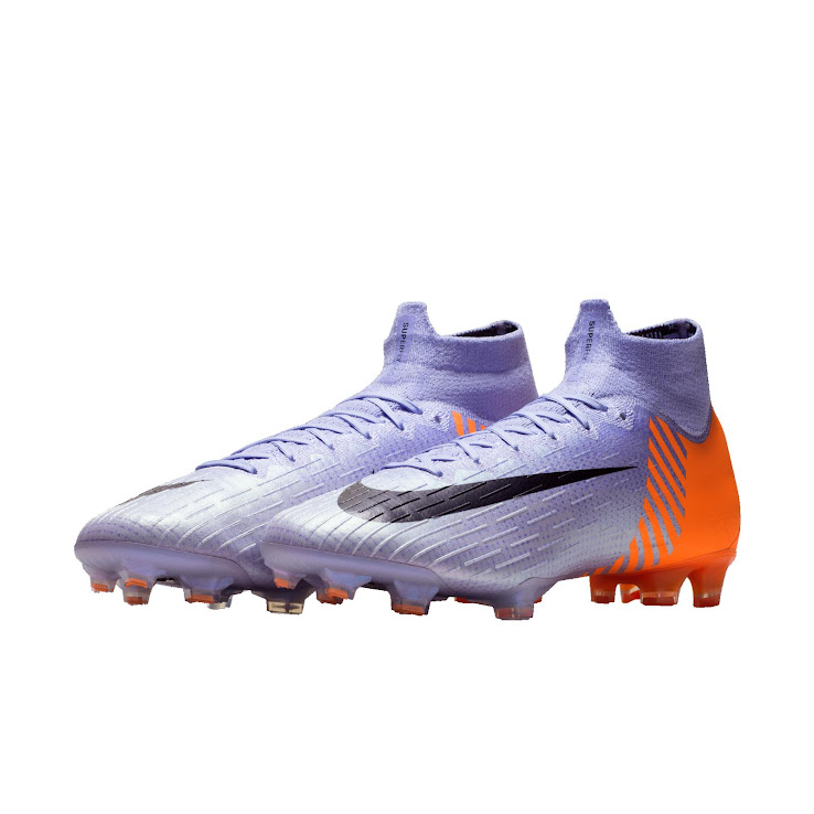 newest 99bc8 6c6a7 Worn by Spaniard Marco Asensio, the Nike Mercurial Superfly 6 Heritage iD  2010 boots are light purple with an orange graphic print on the heel and  black ...