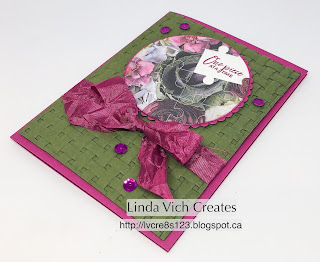 Linda Vic h Creates: Love You To Pieces. Petal Promenade, Love You to Pieces and the Basket Weave Embossing Folder team up in this card for a friend.