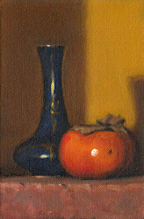 Oil painting of a persimmon beside a blue porcelain garlic-head vase.