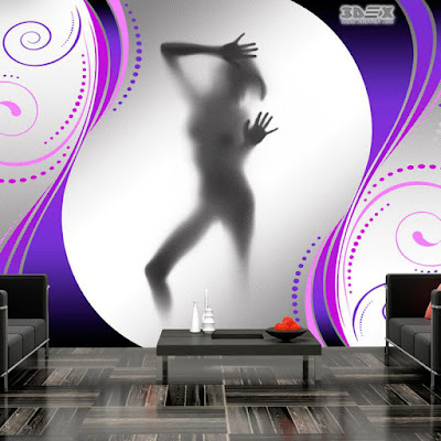 funny 3D wallpaper in living room interior