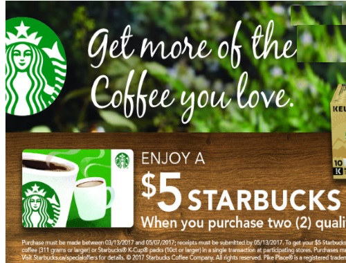 Canadian Daily Deals: Starbucks Free $5 Gift Card Offer