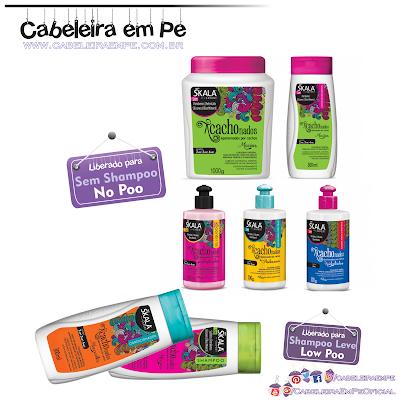 Linha Acachonados - Skala (Shampoo (Low Poo), Cremes para pentear (No Poo), Máscara (No Poo), Condicionador Macios (No Poo), Condicionador Marcantes (Low Poo) e Gelatina (No Poo)