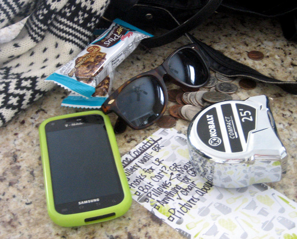 Some flea market trip essentials include a list, a tape measure, and some snacks for later