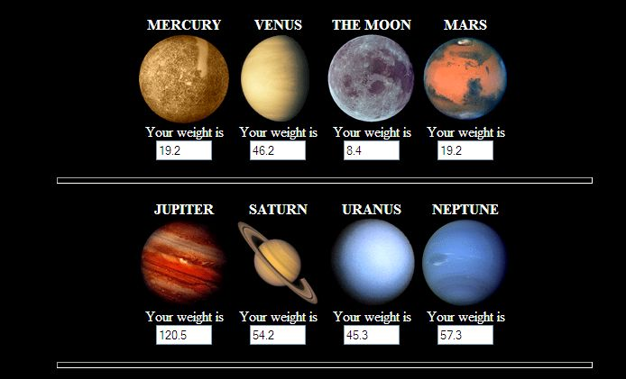 Weight On Different Planets - Pics about space