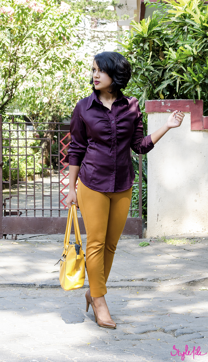The personal style outfit blog post of Style File by Dayle Pereirs displays modern formal office wear in a Next burgundy shirt, Zara mustard jeggings, Zara tan pumps and Lavie mustard tote with a plum smokey eye, a bob hairstyle and a deep berry lip