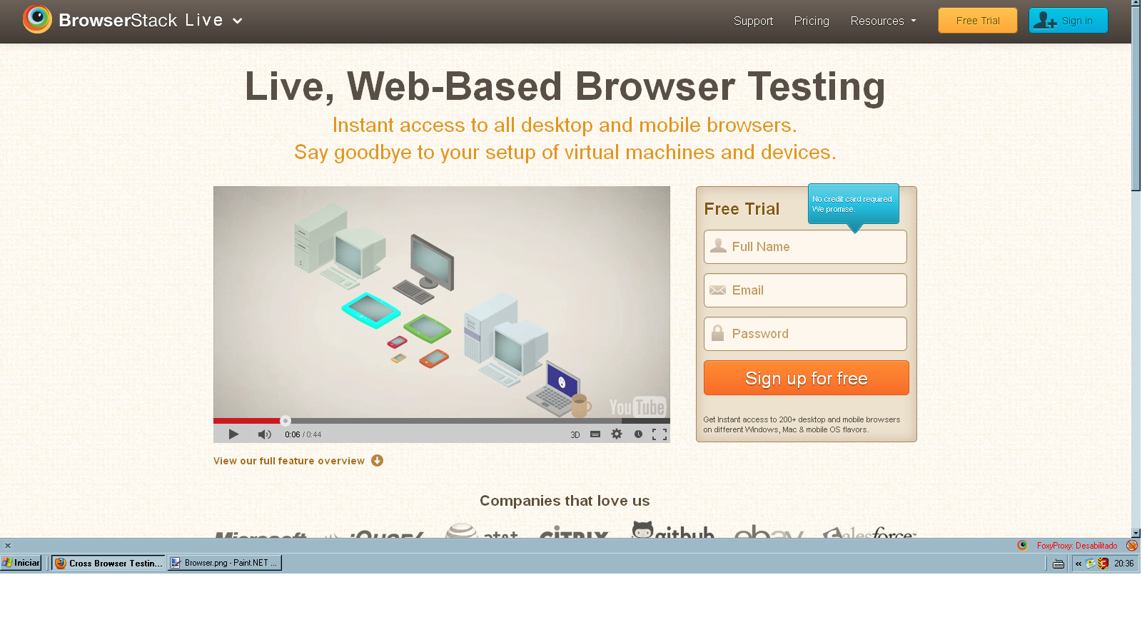 Teste o I.e em vários Browsers on-line