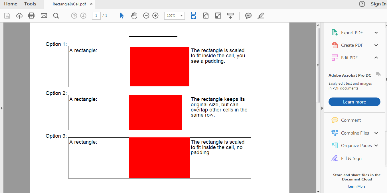 iText 5 PDF - Draw Rectangle in Cell example - Java