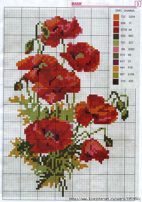 Ще трохи квіткових мотивів для вишивання. Прикрасимо наше зимове життя  квітами. Цього разу вишиваємо тільки маки. Отже a69e4aacee88c