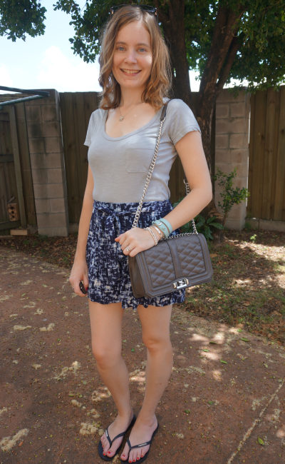 Grey tee Jeanswest chantelle printed shorts rebecca minkoff love bag