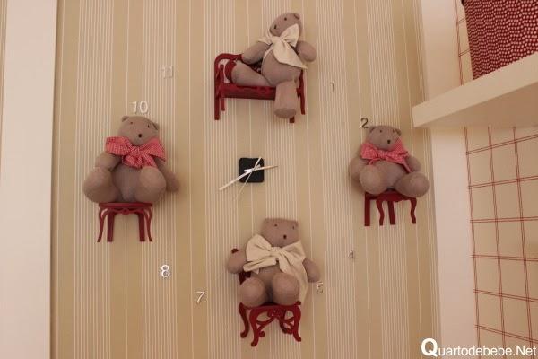 Relogio de parede urso diy