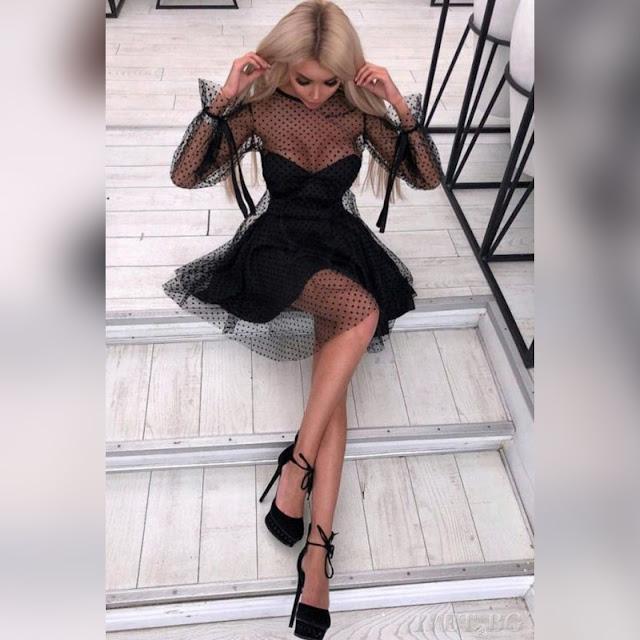 Μεσάτο μαύρο φόρεμα PRESILA