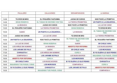 Orden de Actuación del Circuito de Agrupaciones Sábado 02 de Marzo