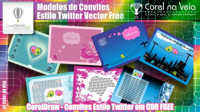 Convites Estilo Twitter em CDR FREE