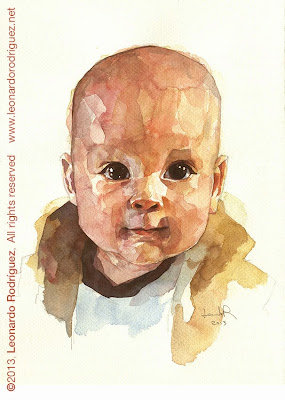 Retrato en acuarela de bebé