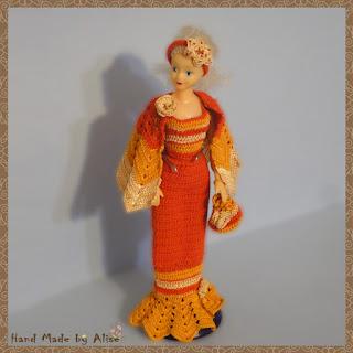 платье для Барби крючком накидка