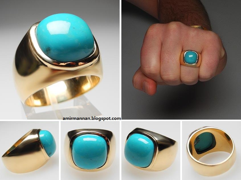 Feroza Turquoise Fashion Gents Ring Jewellery Collection 7