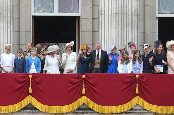 Elizabeth, Prince Philip, Duke of Edinburgh, Camilla, Duchess of Cornwall, Catherine, Duchess of Cambridge, Prince William, Prince George, Princess Charlotte, Prince Harry
