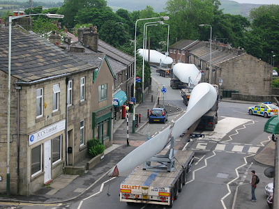 Turbine blades transported by road