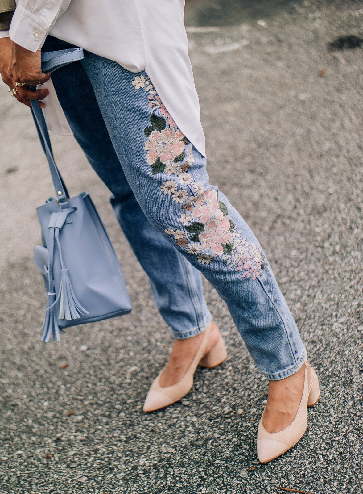 Floral Embroidered Jeans Nude Slingback Heels