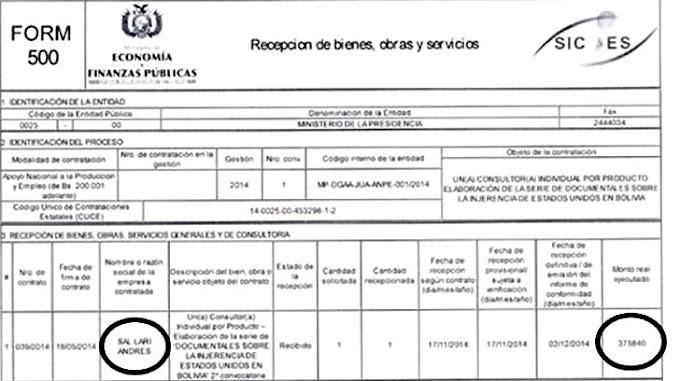 SEGÚN SICOES SALARI COBRÓ BS. 375 MIL POR UN ANTERIOR DOCUMENTAL