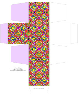 2x2x2 inch all occasion printable gift box with a colorful geometric pattern