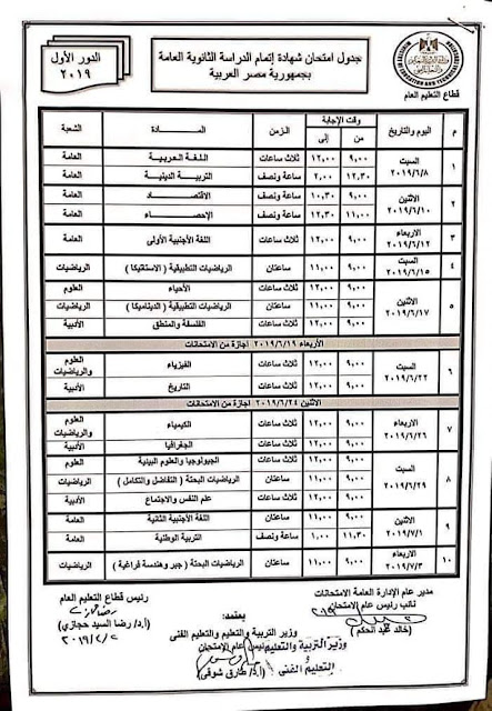 """رسمي ومختوم من الوزير """"جداول امتحانات نهاية العام 2019"""" الترم الثاني لمحافظات مصر 42 6/4/2019 - 5:34 م"""