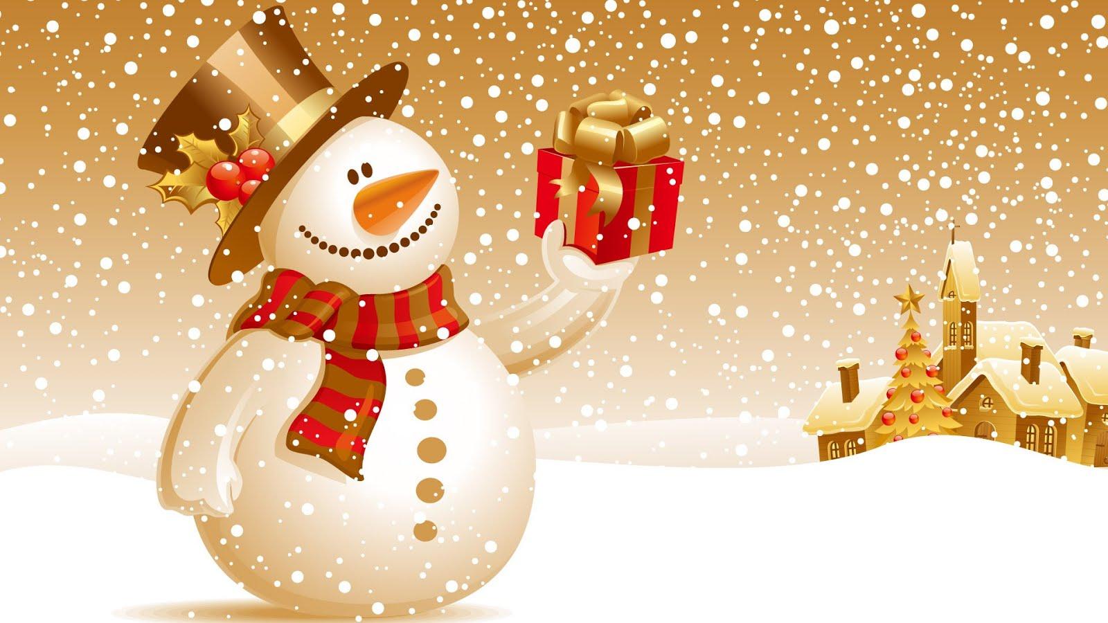 besplatne elektronske božićne čestitke Pozadine 1920x1080 HDTV 1080p: Snješko drži Božićni poklon besplatne elektronske božićne čestitke