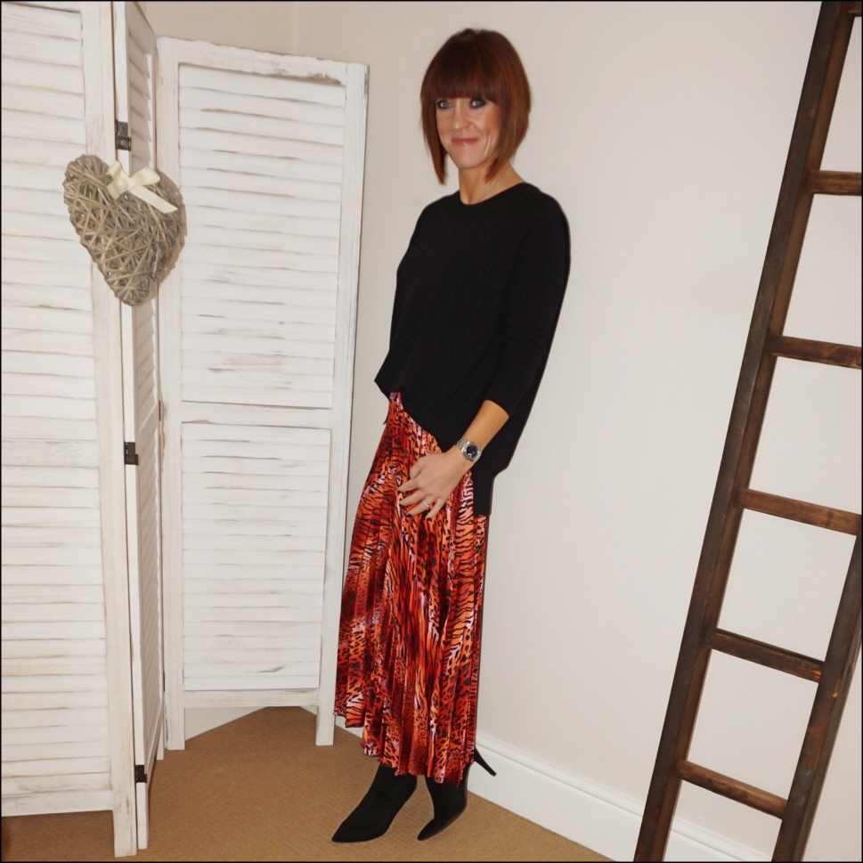 my midlife fashion, hush boyfriend cashmere jumper, asos leopard print satin pleated midi skirt, marks and spencer stiletto velvet sock ankle boots