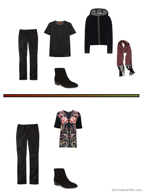 2 outfits for cool weather, including black velvet jeans
