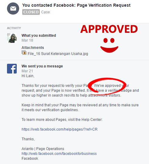 Cara Verifikasi Fanspage Facebook dan Mendapatkan Centang Hitam