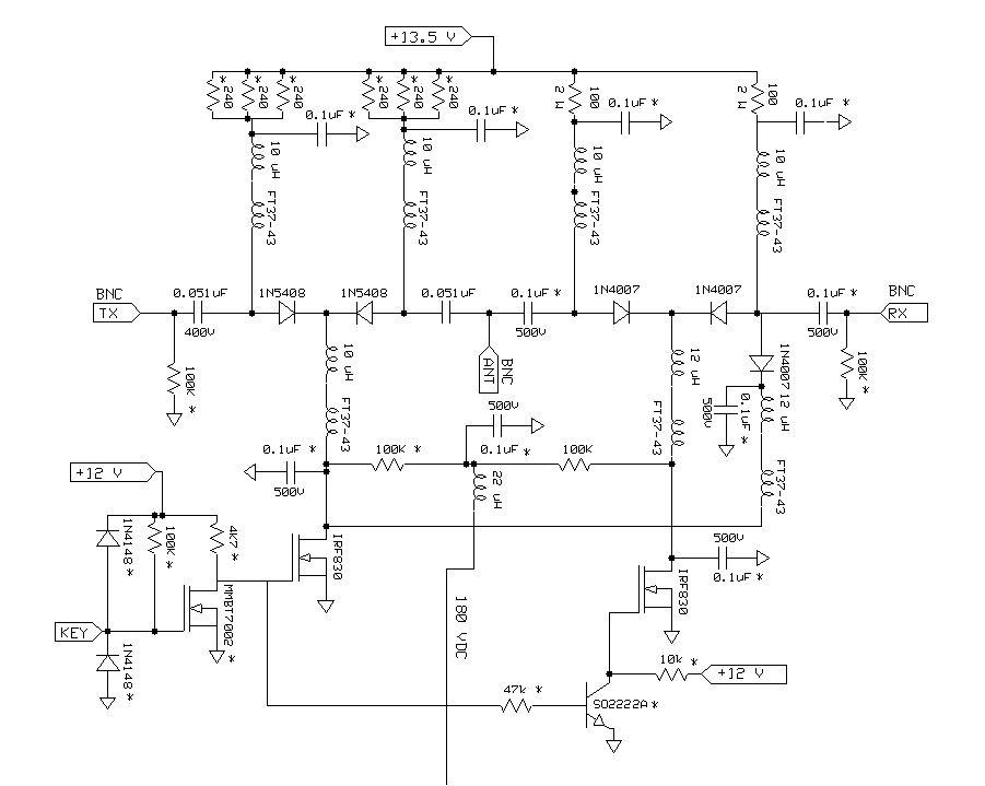 the apparent complexity is reduced when you see what's happening in the  circuit the two irf830 mosfets control whether the diodes