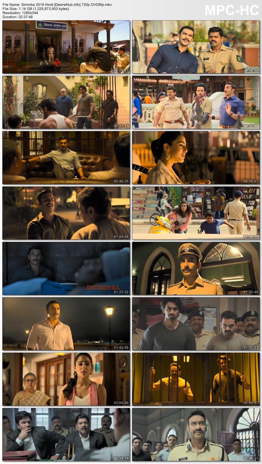 Simmba 2018 Hindi 720p DVDRip 1.1GB Desirehub