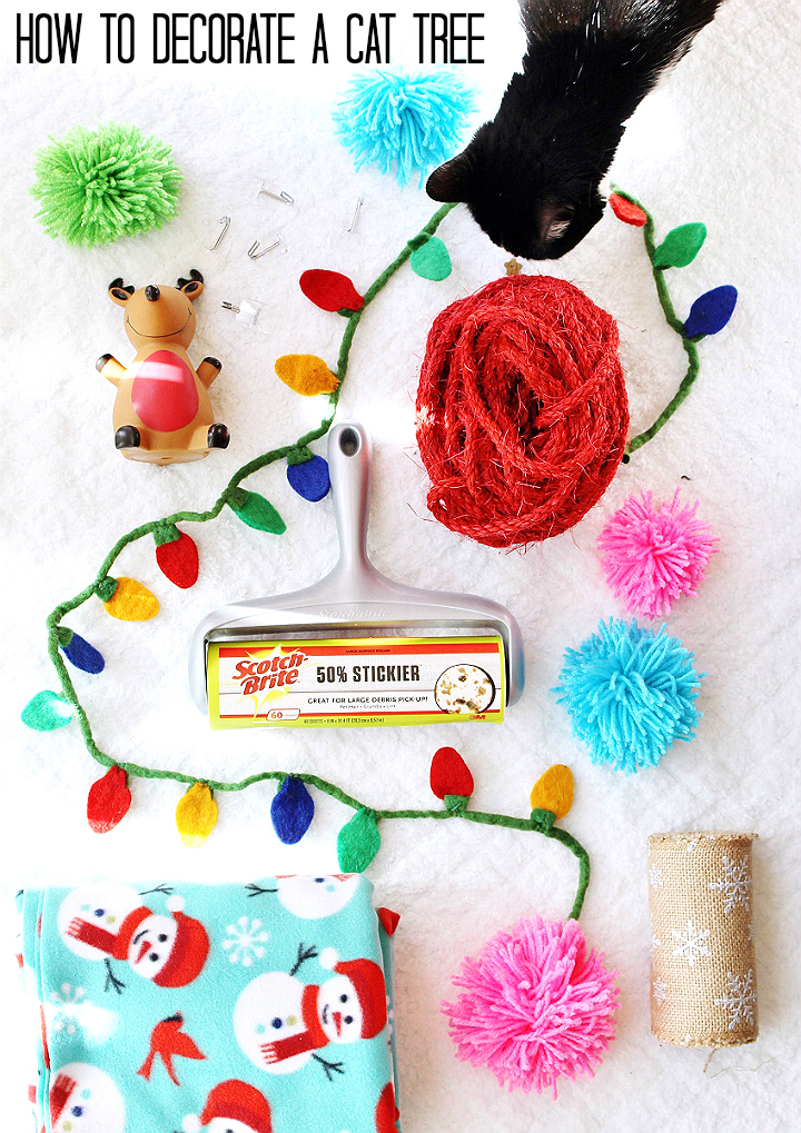 Would you ever decorate your cat tree for the holiday season? Deck The Cat Tree with this simple and fun tutorial! #RollAwayLint AD