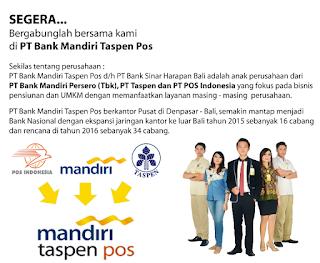 Lowongan Kerja BUMN Terbaru PT Bank Mandiri Taspen Pos Tahun 2017